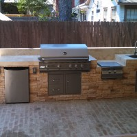 Outdoor refrigerator, side burner free with built-in grill!