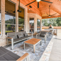 Unique Houston Patio Features Colorful Tile, Wine Trough, Basketball Court