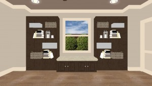 Book Shelves Interior Design Rendering