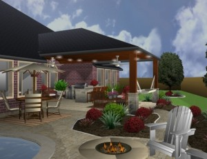 Covered Outdoor Kitchen Rendering