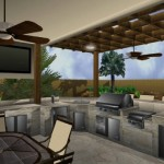 outdoor media room and kitchen