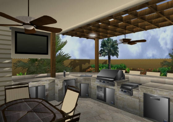 This 3D graphic shows an outdoor kitchen and patio cover by Outdoor Homescapes of Houston. The covered patio also includes patio seating with a TV, an arbor, a professional-grade, stainless steel grill, double burner, bar, dishwasher, refrigerator and storage. For more outdoor living space designs and 3D landscape software previews, go to www.outdoorhomescapes.com
