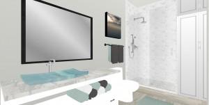 bathroom interior design 3d rendering