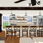 fox kitchen 3d graphic rendering straight on shot backs of chairs