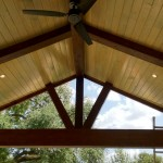 This covered patio features a timber frame construction with ceiling fans. This outdoor living space was designed and built by Outdoor Homescapes of Houston in Cypress, TX. For more outdoor design ideas, visit www.outdoorhomescapes.com
