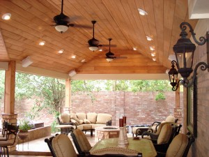 High Wooded Ceiling Covered Patio