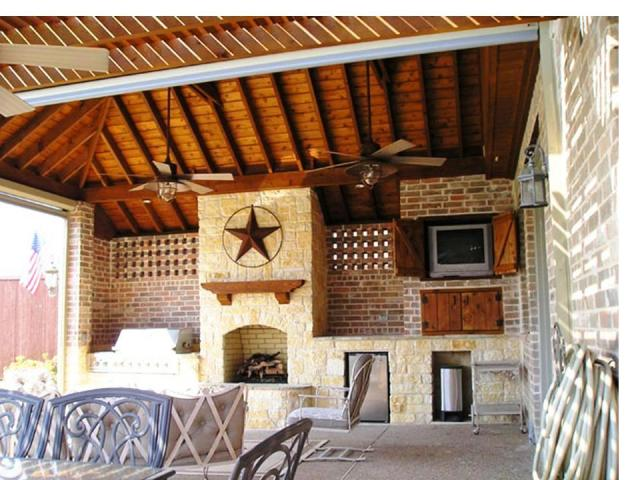 This covered patio puts the Lone Star State's star front and center, making it one of the perfect outdoor living spaces for Go Texan Day 2014. For more Texas decorating and outdoor living designs by Outdoor Homescapes of Houston, visit www.outdoorhomescapes.com