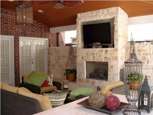 This fireplace/TV room is one of two options in a Wishpond contest held on Facebook by Outdoor Homescapes of Houston, an outdoor living design services company in Cypress, TX. People can vote on one of two outdoor living spaces to enter to win the contest. More info at www.outdoorhomescapes.com