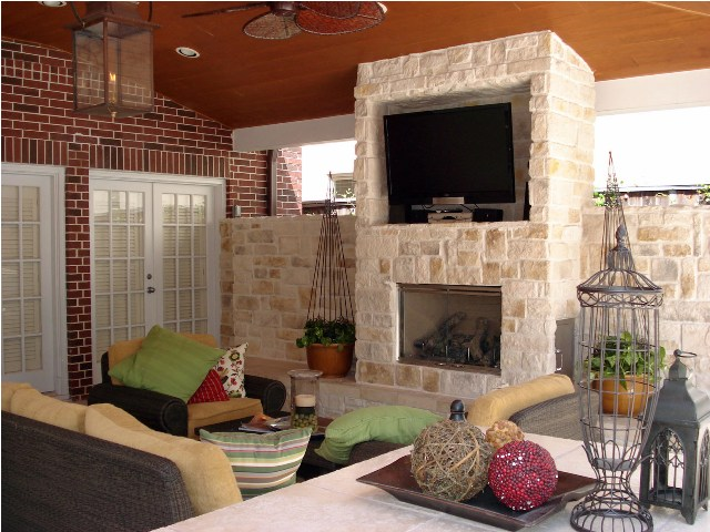 Patio design in Houston is often increasingly incorporating outdoor TVs, outdoor media centers and other outdoor audio-visual systems for watching football on TV. Such spaces also include outdoor heating like fireplaces, fire pits and outdoor heaters for game days during winter. More at www.outdoorhomescapes.com