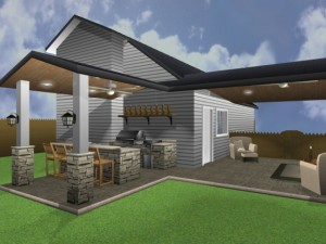 3D graphic rendering of an outdoor living space design by Outdoor Homescapes of Houston. It features two covered patios with roof extensions, housing a bar and grill area and living room between a house and garage. More at www.outdoorhomescapes.com.