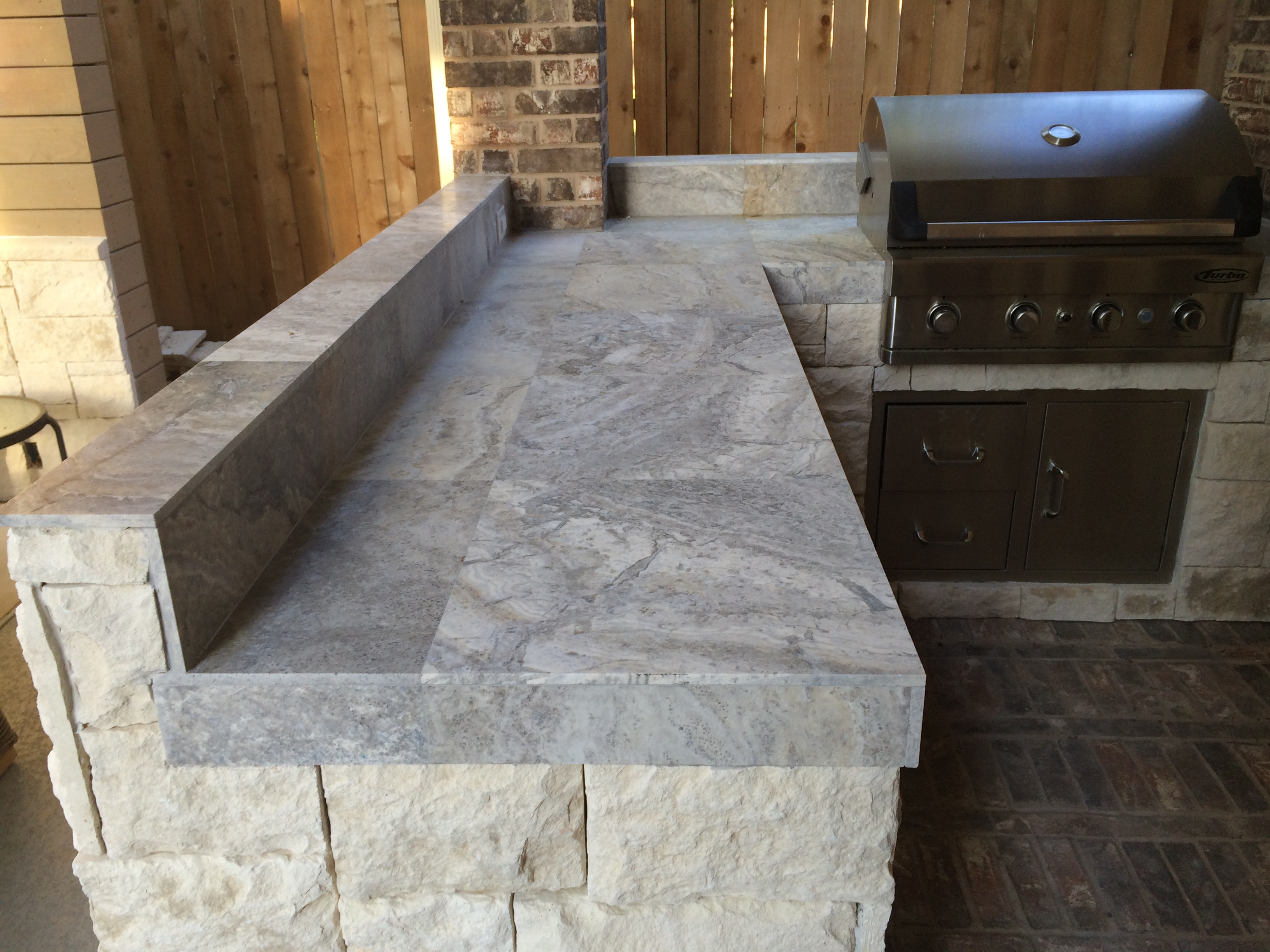 Kitchen Tile Countertop Houston Outdoor Kitchen With Silver Travertine Tile Countertop