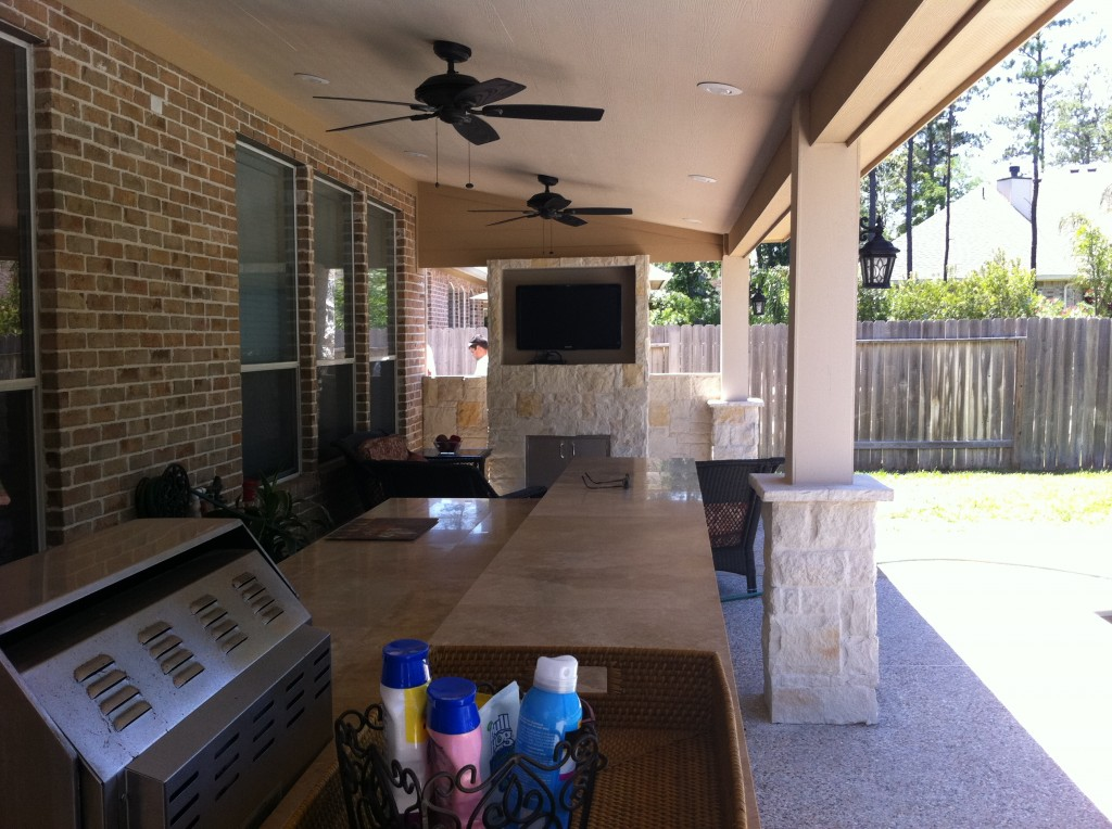 This Houston Outdoor Kitchen Design Features A TV For Football Watching On  End And An Outdoor
