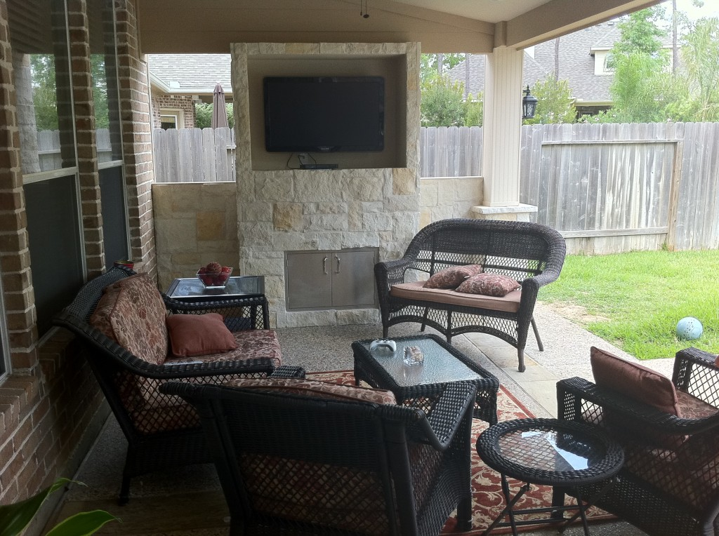 Houston patio design is increasingly incorporating outdoor TVs and other audio visual equipment for watching football on TV during football season. More at www.outdoorhomescapes.com