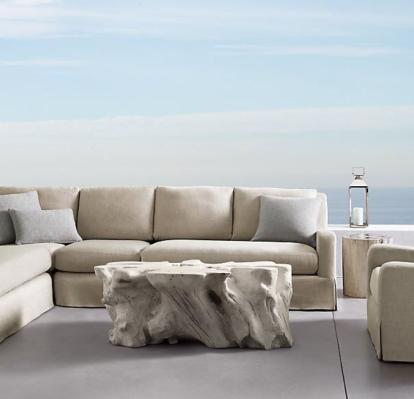 This Malay Concrete Table, from Restoration Hardware, will be among the luxury outdoor furniture designs offered by Outdoor Homescapes of Houston through a new partnership with Senior Designer Lisha Maxey. More at www.outdoorhomescapes.com/blog