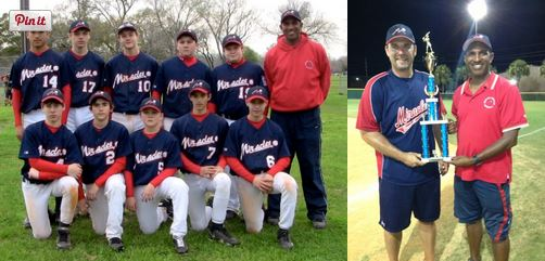 Miracles Baseball Academy team (left). Academy founder Mike Harris (way right). Part of a blog post on community giving in Houston by Wayne Franks, owner of Outdoor Homescapes of Houston, at www.outdoorhomescapes.com/blog