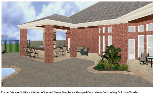 This 3D graphic rendering of a patio addition by Outdoor Homescapes of Houston shows the contrasting patio colors used to define different areas. More at www.outdoorhomescapes.com/blog