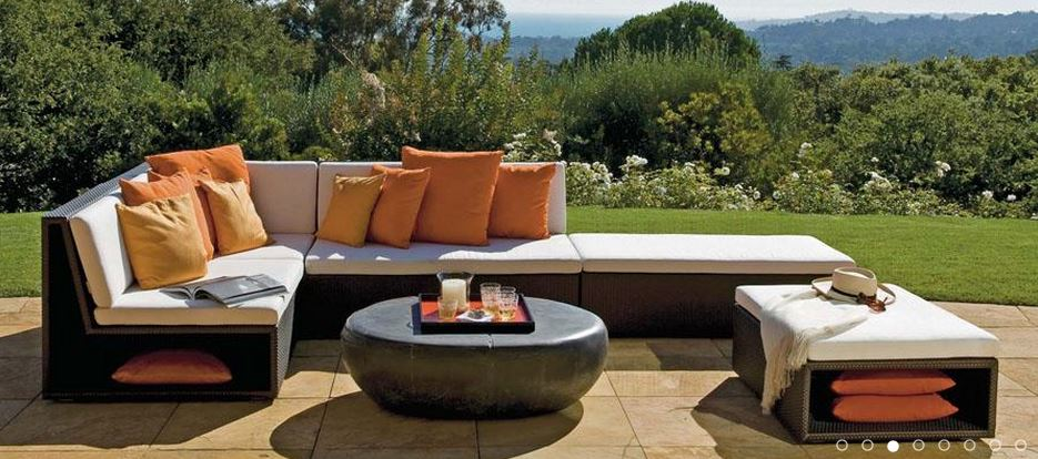 Outdoor living color schemes  help establish the mood, personality and style of an outdoor living space,  as seen in this orange themed collection by Janus et Cie. From a blog post on using color outdoors by Outdoor Homescapes of Houston at www.outdoorhomescapes.com