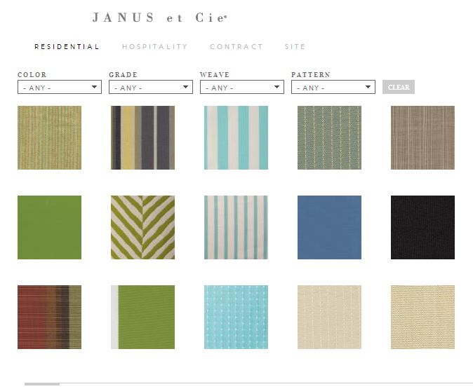 Outdoor furniture trends 2014? Try custom fabrics, like these textiles by Janus et Cie, says Houston outdoor living space designer Lisha Maxey of Outdoor Homescapes of Houston in a blog post at www.outdoorhomescapes.com