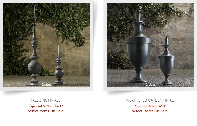 screenshot zinc finials restoration hardware