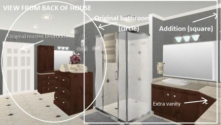 This 3D graphic shows a Houston bathroom remodel featuring a 300-square-foot en suite addition, his and her walk-in closets and a spa shower. More on this Houston bath designer at www.outdoorhomescapes.com.