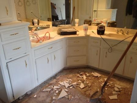 "Houston kitchen and bath design is one of the interior design services offered by Outdoor Homescapes of Houston. This is a ""before"" shot of a Houston bathroom remodel they did. More at www.outdoorhomescapes.com."