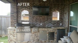 "This ""after"" shot shows an outdoor kitchen designed and built by Outdoor Homescapes as part of a community giving project. More at www.outdoorhomescapes.com."