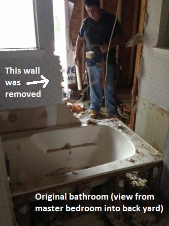 "This ""before"" shot of a Houston bathroom remodel by Outdoor Homescapes of Houston (which also does interior design) shows the wall of the original bathroom that will be removed to make way for a 300-square-foot en suite bathroom addition. More at www.outdoorhomescapes.com."
