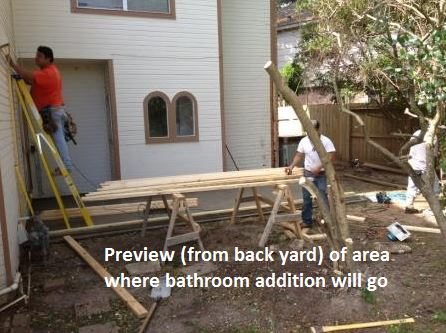 "This ""before"" shot of a Houston bathroom remodeling project by Outdoor Homescapes of Houston, which also design interior design, shows the area where a 300-square-foot en suite bathroom addition will go. More on this Houston bath designer at www.outdoorhomescapes.com."