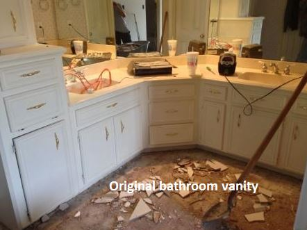 "This ""before"" shot of a Houston bathroom remodel by Outdoor Homescapes of Houston (which does interior and outdoor design) shows the original vanity and sinks. More on this Houston bathroom designer at www.outdoorhomescapes.com."