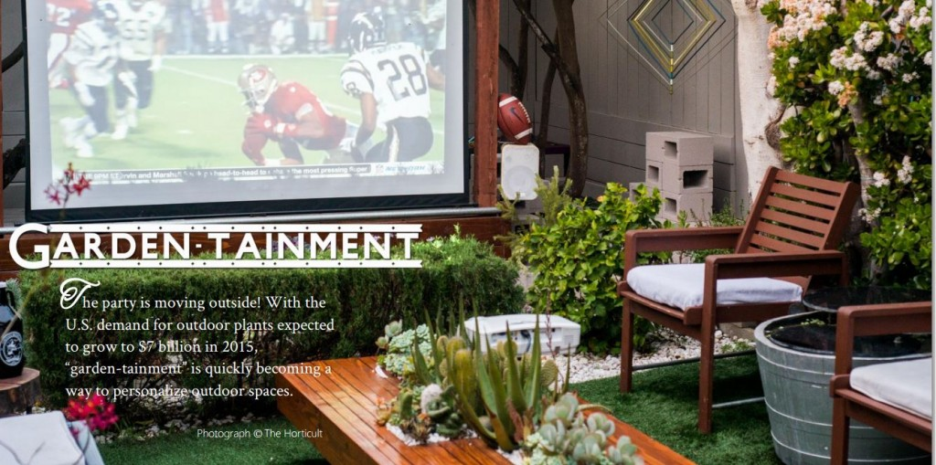 "Outdoor TVs are part of the ""garden-tainment"" trend sweeping America, according to the Garden Media Group's 2015 trends report. More at www.outdoorhomescapes.com/outdoor-tv-gets-patio-ready-football-fall-entertaining"