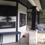 Outdoor kitchen & TV area
