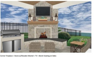 Custom Covered Patio 3d design rendering