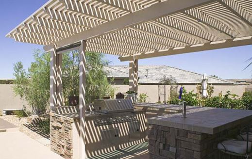 Aluminum pergola Over Outdoor Kitchen
