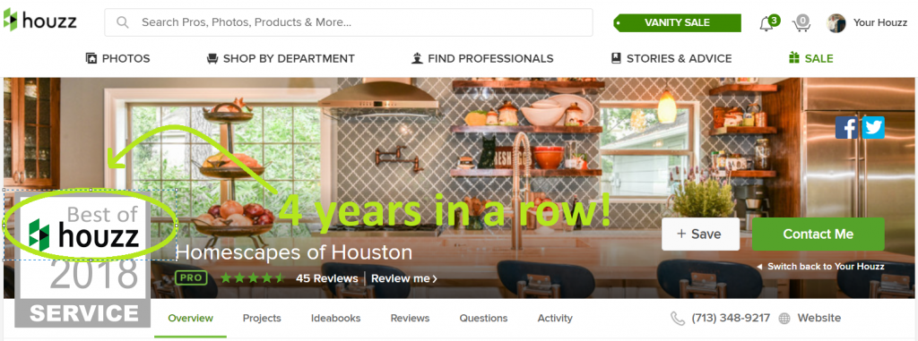 screenshot best of houzz 2018 profile pic with graphic markups