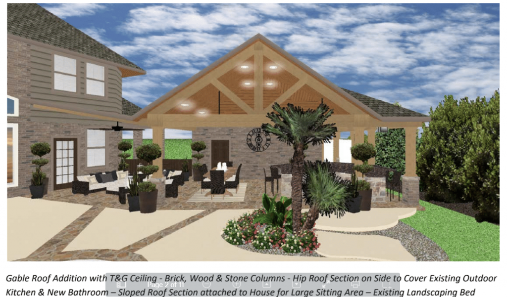 This is a 3D drawing of a large covered patio in Houston designed and built by Homescapes of Houston. More at www.outdoorhomescapes.com/blog