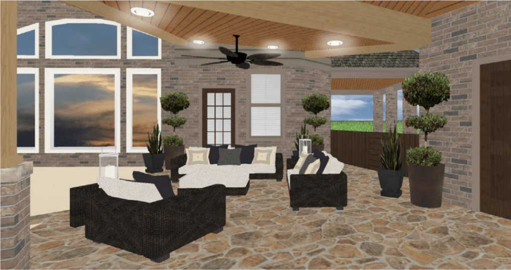 This 3D rendering of a large covered patio in Houston by Homescapes of Houston shows the new breezeway and sitting room. More at www.outdoorhomescapes.com