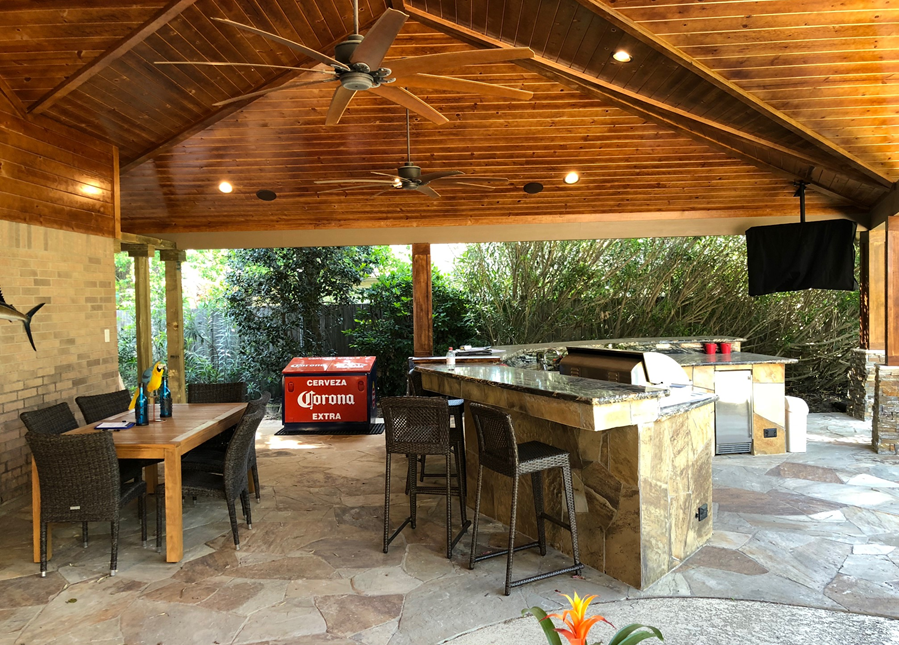 Large Covered Patio in Spring, TX by Homescapes of Houston. More at www.outdoorhomescapes.com