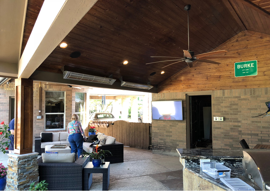 This large covered patio in Spring, TX was designed and built by Outdoor Homescapes of Houston. More at www.outdoorhomescapes.com/blog